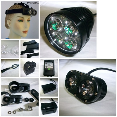 800L or 1200L headlight with 400L helmet mounted light