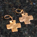 Handcast Gold Cross Earrings