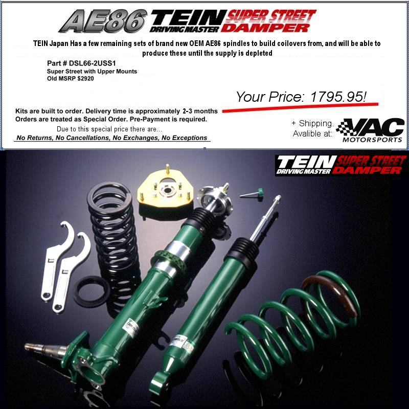 TEIN - Toyota Corolla GTS GT-S SR5 1984-1987 AE86 Super Street Coilover Suspension System Kit