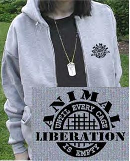 Animal Liberation Hooded Zippered Sweatshirt - Grey