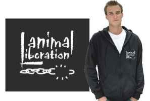 Animal Liberation Hooded Zippered Sweatshirt - Black