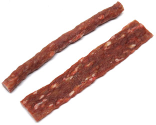 "Vegan ""Beef Stick"" and ""Jerky Strip"" Dog Chews by Animal Farm"