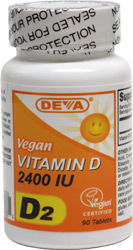 DEVA Vegan Vitamin D2 Tablets - 2400iu