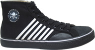 Duane Peters Hi-Top Sneaker by Draven  Black Toe/White Stripes