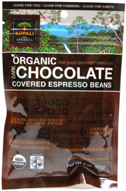 Organic Fair-Trade Chocolate Covered Espresso Beans by Kopali Organics