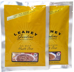 Leahey Gardens Vegan No-Chicken and Beef Noodle Soups