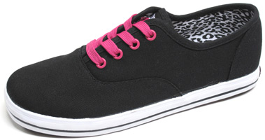Liz Canvas Sneaker by Draven - Black/Pink
