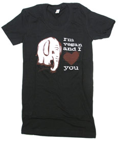 &quot;I'm Vegan and I Love You&quot; Women's T-Shirt by Herbivore Clothing - Black