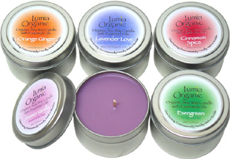 Organic Soy Wax Candle Tins by Lumia Organic