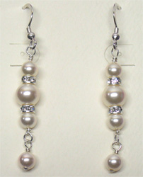Graduated Faux Pearl Earrings with Swarovski Crystals by McFarland Designs
