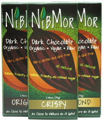 NibMor Raw Dark Vegan Chocolate Bars