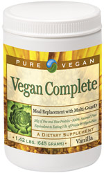 Vegan Complete Meal Replacement Protein Powder by Pure Advantage – 1.4 lb. jug