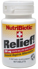 Relief! White Willow Bark Natural Aspirin Alternative by NutriBiotic