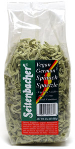 Vegan German Spinach Spaetzle by Seitenbacher