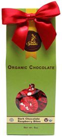 Holiday Box of Organic Dark Chocolate Raspberry Bites by Sjaaks