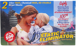 Static Eliminator Re-Usable Dryer Sheet System