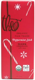 Organic Fair Trade Peppermint Stick Dark Chocolate Bar by Theo