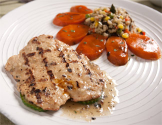 Grilled Soy Chicken Cutlet with Garlic Lemon Herb Sauce by Veggie Brothers