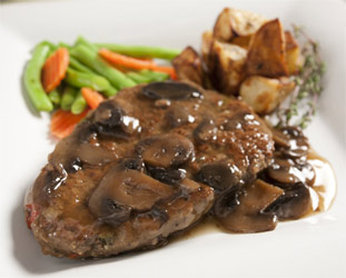 Salisbury Steak with Mushroom Gravy by Veggie Brothers