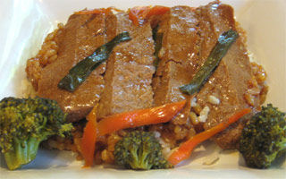 Vegan Beef Teriyaki with Brown Rice by Veggie Brothers