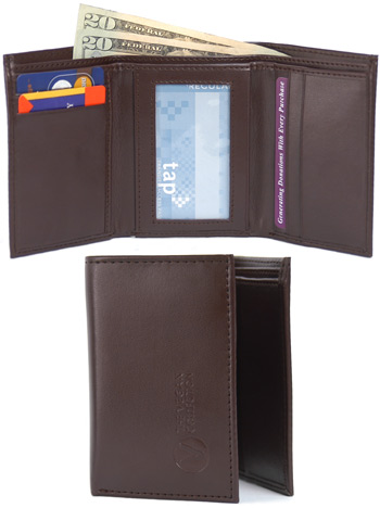 Tri-Fold Wallet by The Vegan Collection  Brown