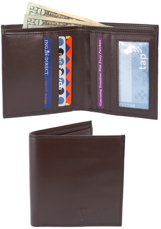 Traveler Bi-Fold Wallet by The Vegan Collection – Brown