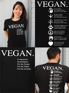 Vegan Compassion Organic Cotton T-Shirt by NonviolenceUnited.org - Black