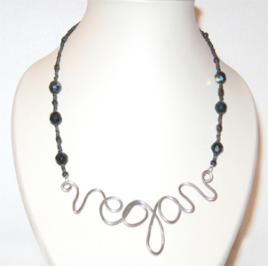 Vegan Pride Necklace with Black Beads by Evolve